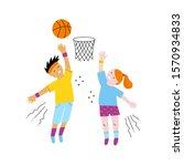 boy and girl playing basketball ... | Shutterstock .eps vector #1570934833