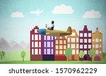 man in aviator helmet sitting... | Shutterstock . vector #1570962229
