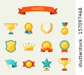 trophy and awards icons set. | Shutterstock .eps vector #157097468