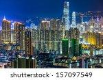 hong kong cityscape at night  | Shutterstock . vector #157097549