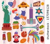 america cute set  a set of... | Shutterstock .eps vector #157098128
