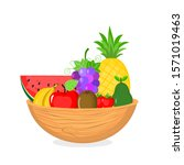 fruits in a wooden bowl... | Shutterstock .eps vector #1571019463