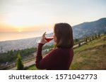 Woman Drinking Red Wine On...