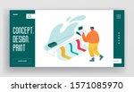 designer using widescreen... | Shutterstock .eps vector #1571085970