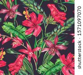 tropical flowers  orchid  red... | Shutterstock . vector #1571097070
