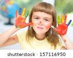 portrait of a cute cheerful... | Shutterstock . vector #157116950