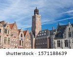 Small photo of Dendermonde, Belgium - February 24 2019: The tower of the Court of First instance, seen from the Grote Markt (main square)
