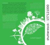 infographics green modern city...   Shutterstock .eps vector #157121000