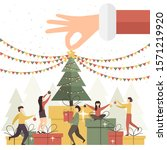 holiday card. big hand of santa ... | Shutterstock .eps vector #1571219920