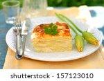 Stock photo a piece of zucchini lasagna 157123010
