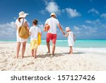 back view of a happy family on... | Shutterstock . vector #157127426