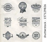 logo quality coffee seal retro... | Shutterstock .eps vector #157129826