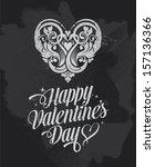 chalkboard valentines day... | Shutterstock .eps vector #157136366