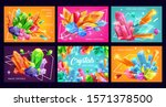 crystals and gem stones with... | Shutterstock .eps vector #1571378500