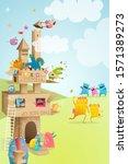 cardboard paper castle kids... | Shutterstock . vector #1571389273