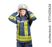 Young Smiling Girl Firefighter...