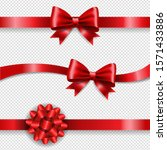 silk red bow and transparent... | Shutterstock . vector #1571433886