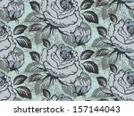 seamless vintage tropical rose... | Shutterstock .eps vector #157144043
