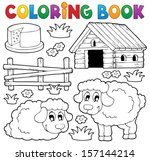 coloring book sheep theme 1  ... | Shutterstock .eps vector #157144214