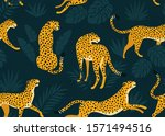 leopard pattern with tropical... | Shutterstock .eps vector #1571494516