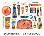 various creams  lipstick ... | Shutterstock .eps vector #1571510920