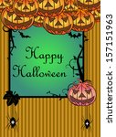 halloween frame with evil... | Shutterstock .eps vector #157151963