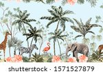 hand drawn tropical vintage... | Shutterstock .eps vector #1571527879