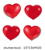 Red Hearts Set Isolated White...