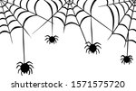 cartoon spider web and spiders... | Shutterstock .eps vector #1571575720