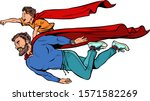 dad and son are superheroes.... | Shutterstock .eps vector #1571582269