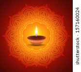 decorative diwali lamp design | Shutterstock .eps vector #157160024
