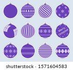 magic  purple christmas balls...   Shutterstock .eps vector #1571604583