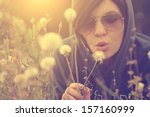 woman lying in the grass and... | Shutterstock . vector #157160999