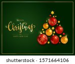 red and gold christmas balls... | Shutterstock . vector #1571664106