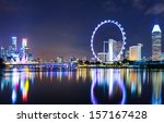 singapore city skyline at night | Shutterstock . vector #157167428