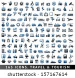 165 bicolor icons. travel and... | Shutterstock .eps vector #157167614