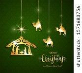christian christmas theme.... | Shutterstock . vector #1571683756