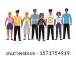 group of happy diverse people... | Shutterstock .eps vector #1571754919