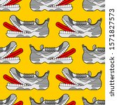 Toothy Sneaker Monster Pattern...