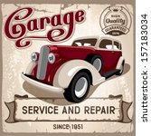 auto service retro poster.... | Shutterstock .eps vector #157183034