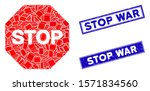 mosaic stop sign icon and... | Shutterstock .eps vector #1571834560
