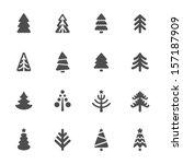 christmas tree icons set | Shutterstock .eps vector #157187909