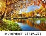 pond in autumn  yellow leaves ... | Shutterstock . vector #157191236