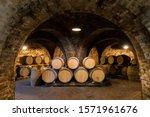 Wine Barrels In The Cellar ...