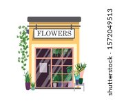 flower shop flat color vector...   Shutterstock .eps vector #1572049513