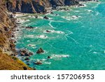Aerial view of the scenic rocky northern California coastline revealing hidden Pirate