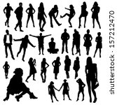 people silhouettes | Shutterstock .eps vector #157212470