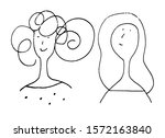 simple line drawn portraits of...   Shutterstock . vector #1572163840