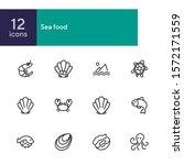 seafood line icon set. shrimp ... | Shutterstock .eps vector #1572171559