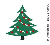 green christmas tree with red ... | Shutterstock .eps vector #1572172900